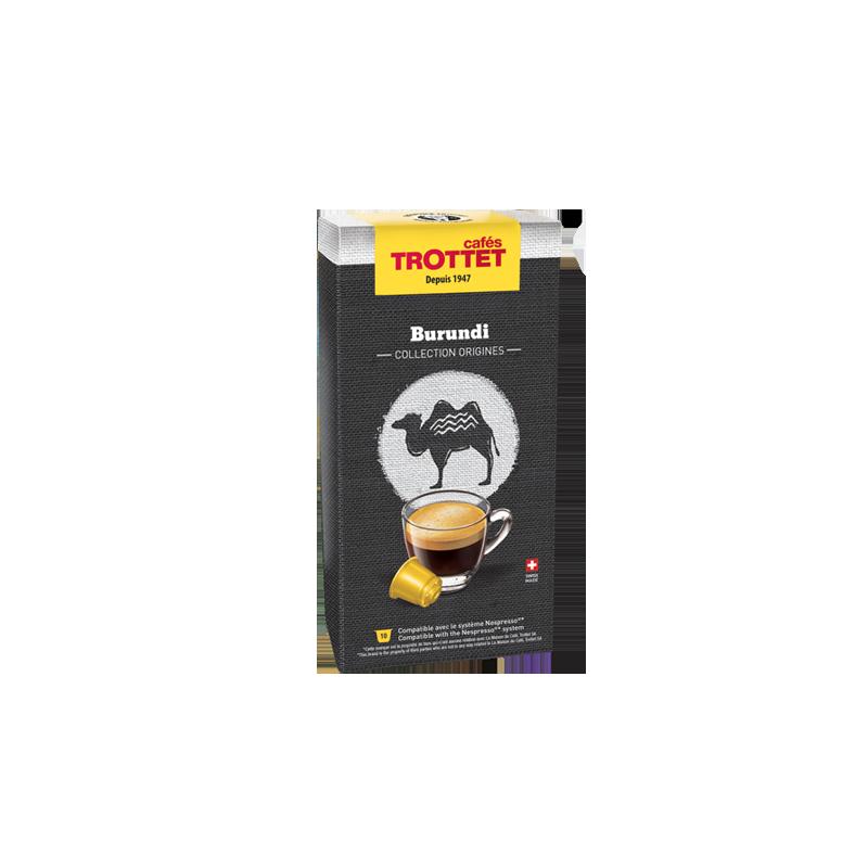Cafés Trottet 10 Capsules Burundi Compatibles Nespresso® Cafés Trottet