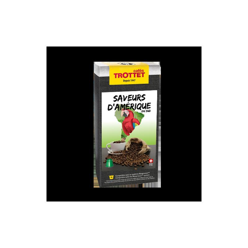 Cafés Trottet Saveurs d'Amérique du Sud 10 capsules