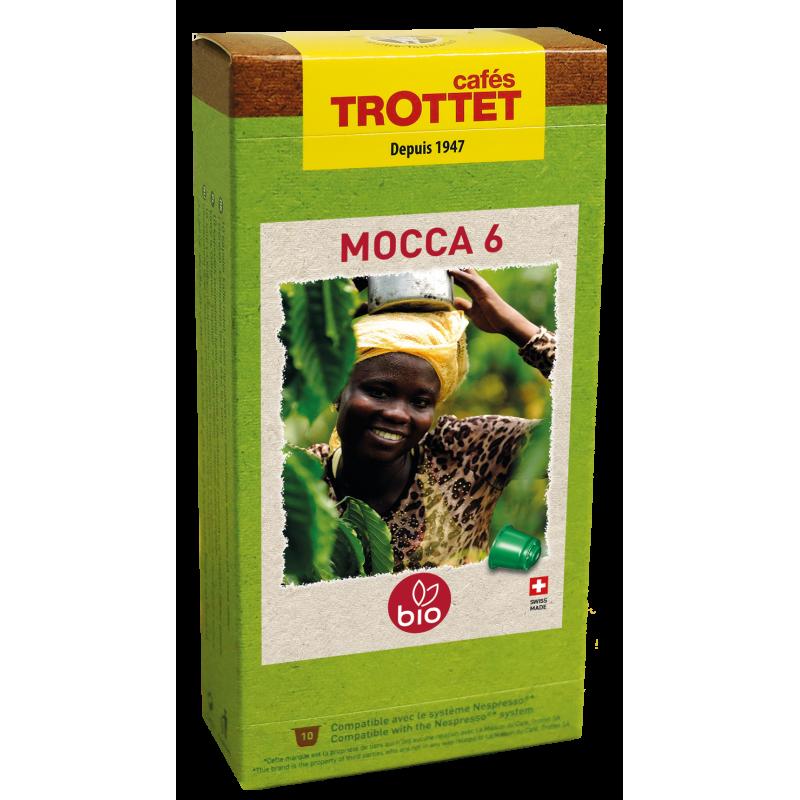 Cafés Trottet 10 Capsules Mocca 6 Bio Compatibles Nespresso® Cafés Trottet